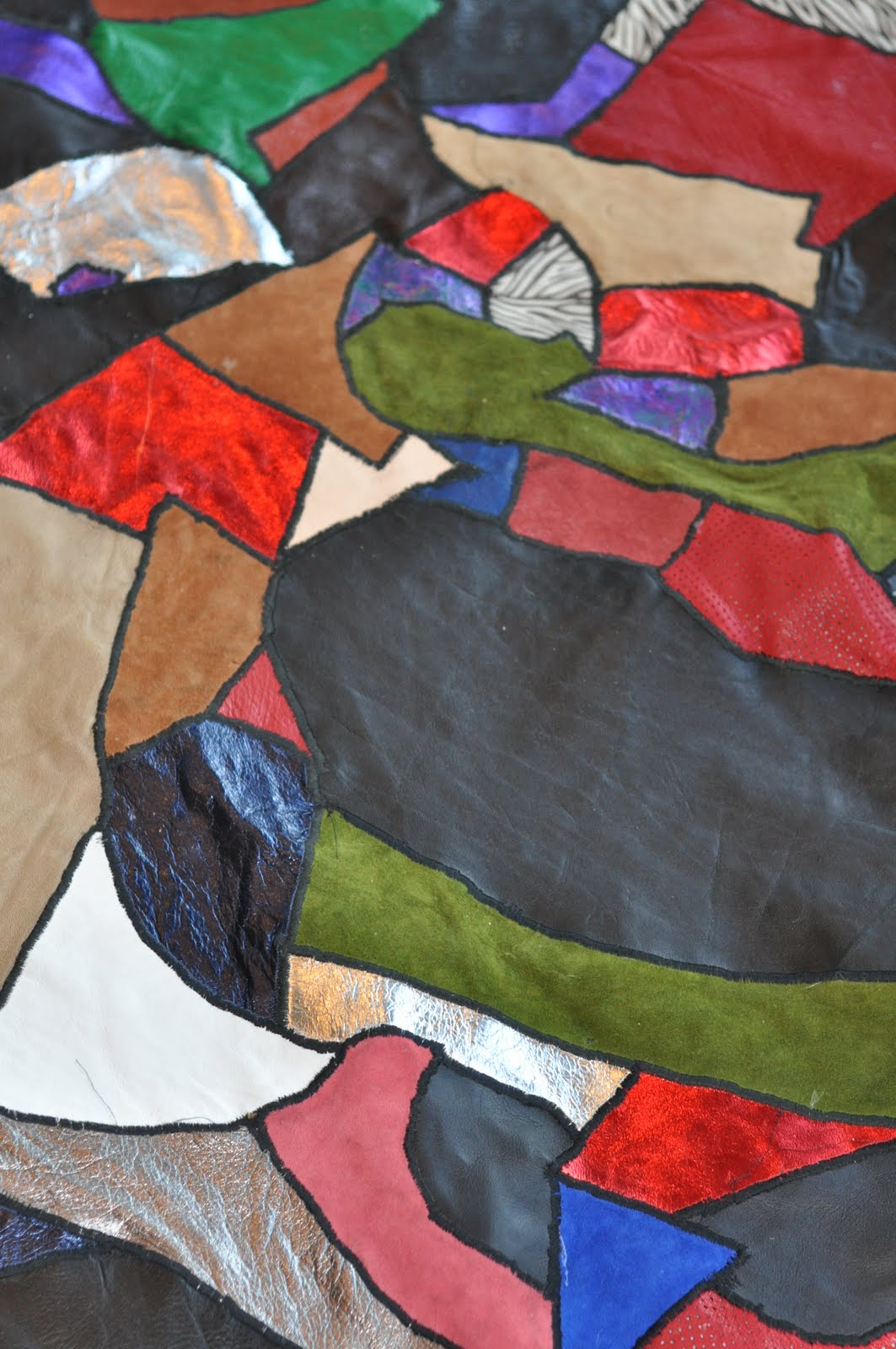 Close-up of Leather Scrap Quilt
