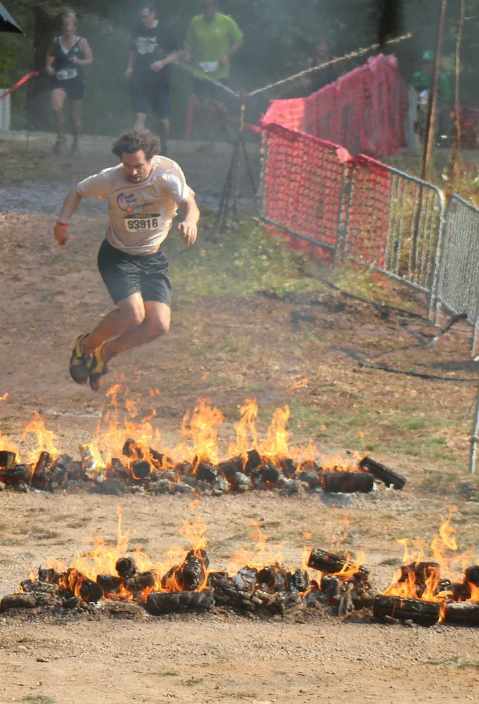 Warrior Dash Jumping Fire