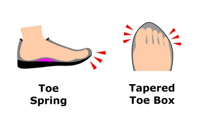 Toe Spring and Tapered Toe Box
