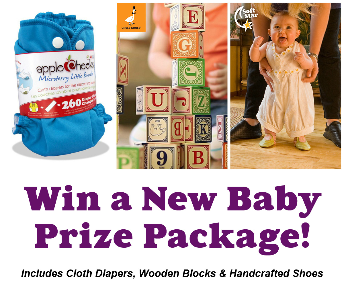 GIVEAWAY: Diapers, Blocks and Shoes... Oh My! Enter to Win Our New Baby Prize Package