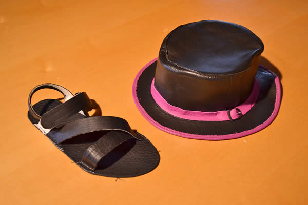 handmade-leather-sandal-and-top-hat