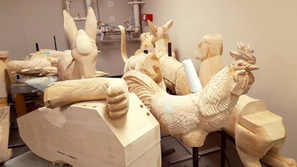wooden-carousel-animal-carvings